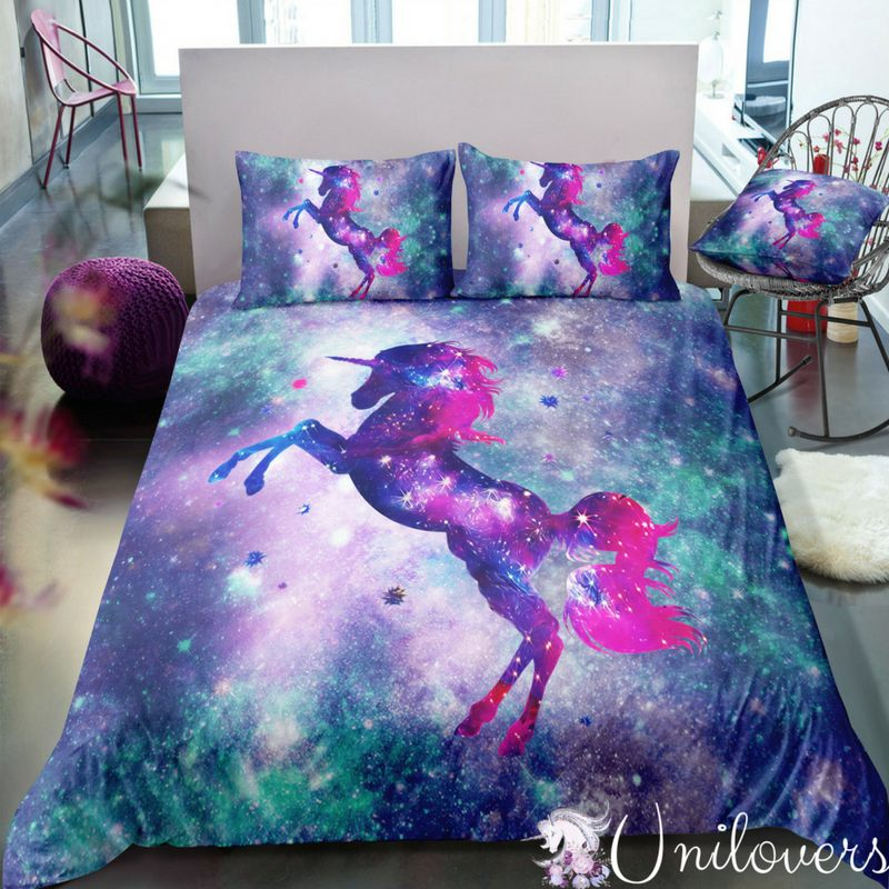 3D Customize Cosmos Unicorn Bedding Set Duvet Cover Set Bedroom