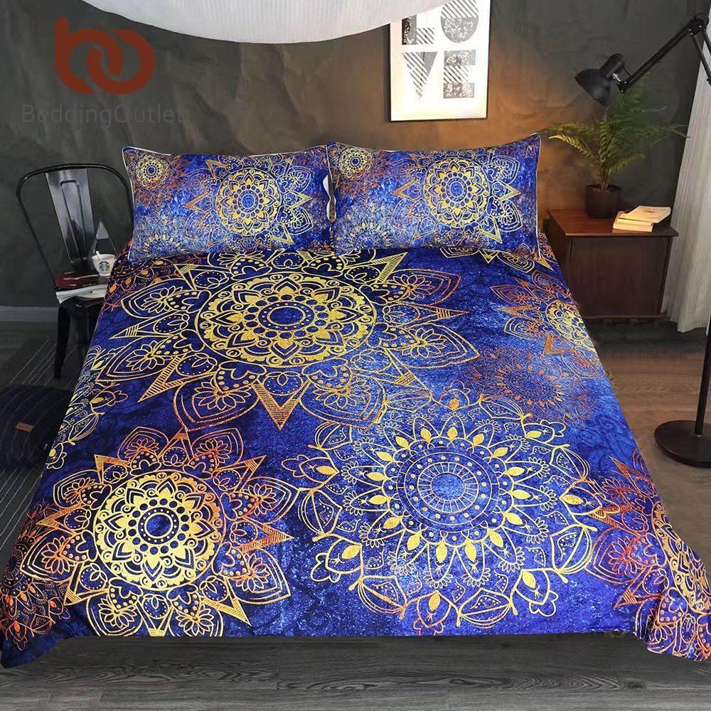 Parure De Lit London Fraîche Achat Beddingoutlet Mandala Literie Ensemble Bleu D or Fleurs Housse