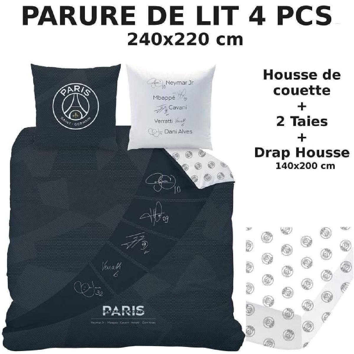Parure De Lit 4 Pcs Housse De Couette 240x220 2 Taies D Oreiller