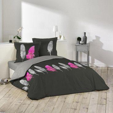 Parure De Lit Violet Impressionnant Parure Lit 2 Places Noire Plume Rose Pas Cher Housse De Couette