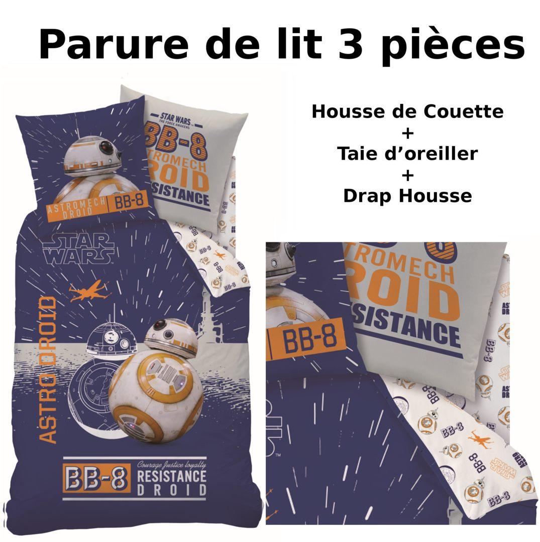 STAR WARS BB8 Parure de lit 3pcs Housse de Couette Taie d
