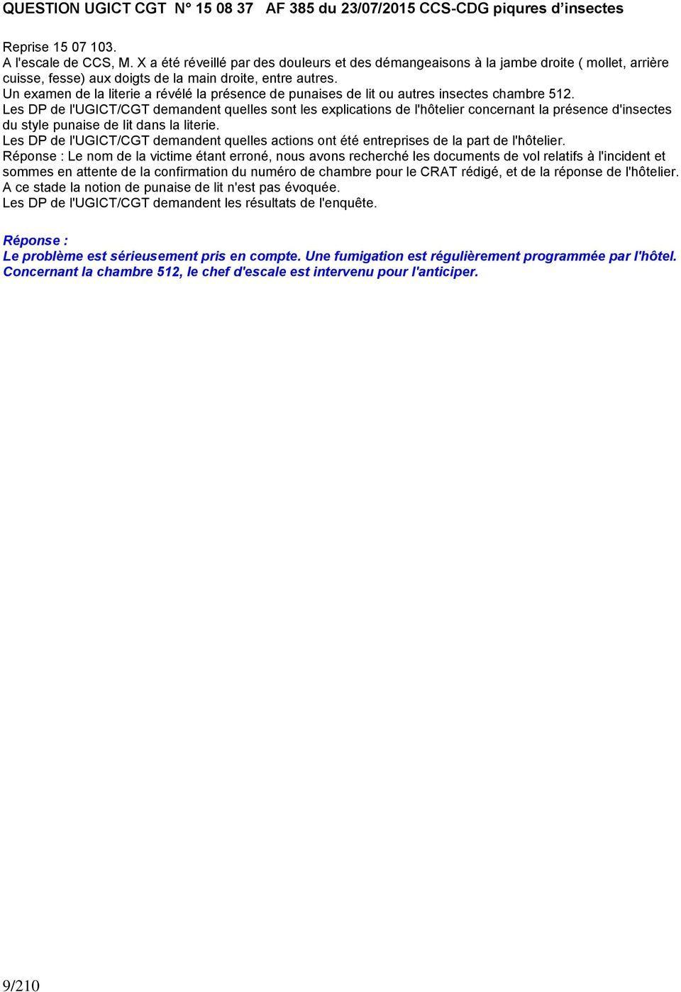 Prevention Punaise De Lit Huile Essentielle De Luxe Direction Generale Du Service En Vol Aout Pdf