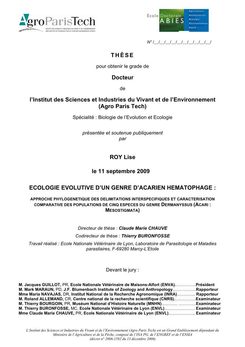 Punaise De Lit Lyon Nouveau Pdf Ecologie évolutive D Un Genre D Acarien Hématophage Approche