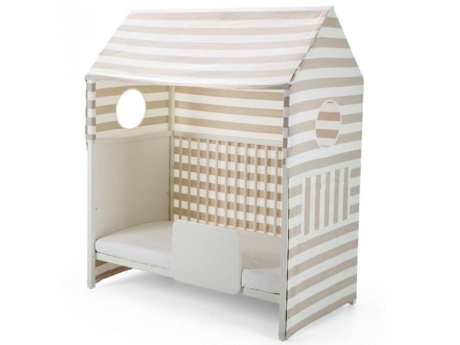 Habillage cabane pour lit Home Beige rayé