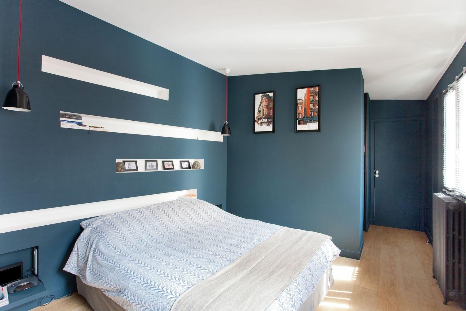 Tete De Lit Avec Niche Fraîche Magnifique Chambre Peinture Idee Parentale Lzzy Co Bleu Et Gris
