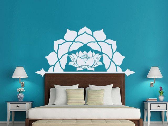 Moitié Fleur De Lotus Vinyle Stickers Muraux Chambre Principale tªte