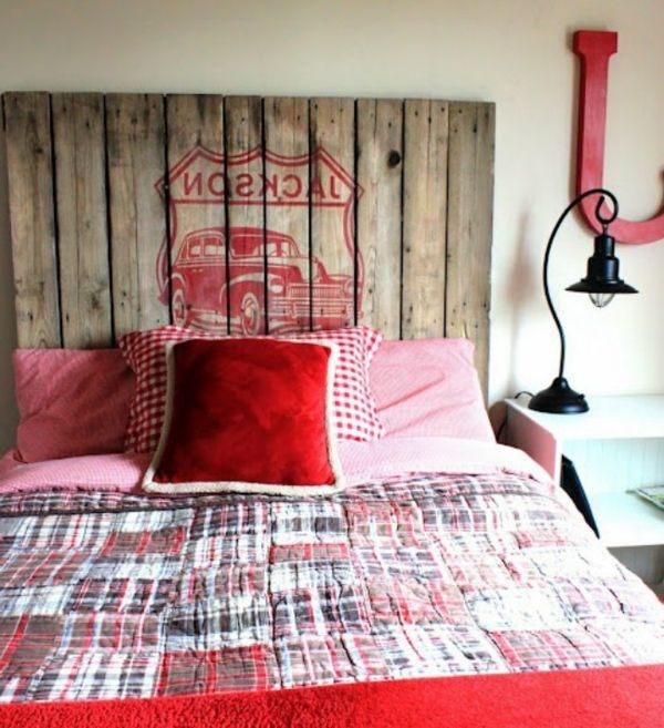 Tete De Lit Rouge Charmant Design Rouge Palette Recup 600—657