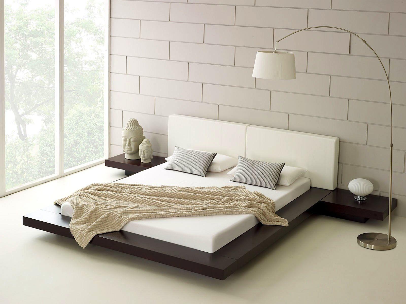 zen style minimalist bedroom with platform bed Home Design