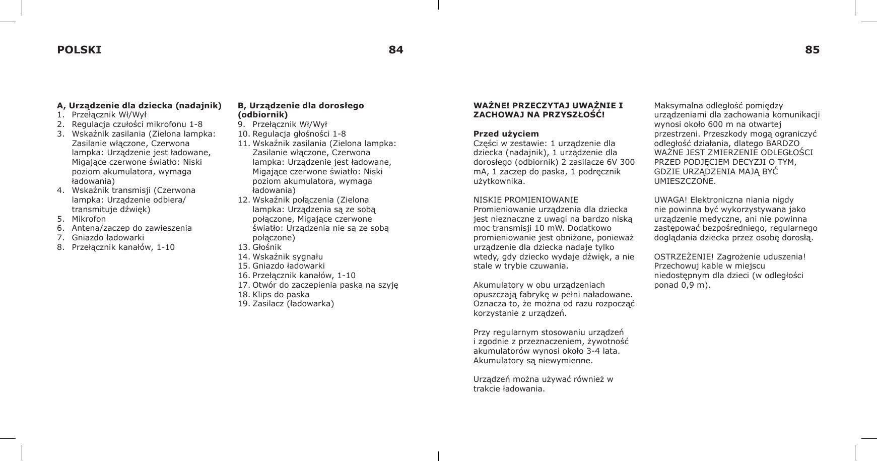 IK88T 900MHz Analog Baby Monitor Baby Unit User Manual IKEA of