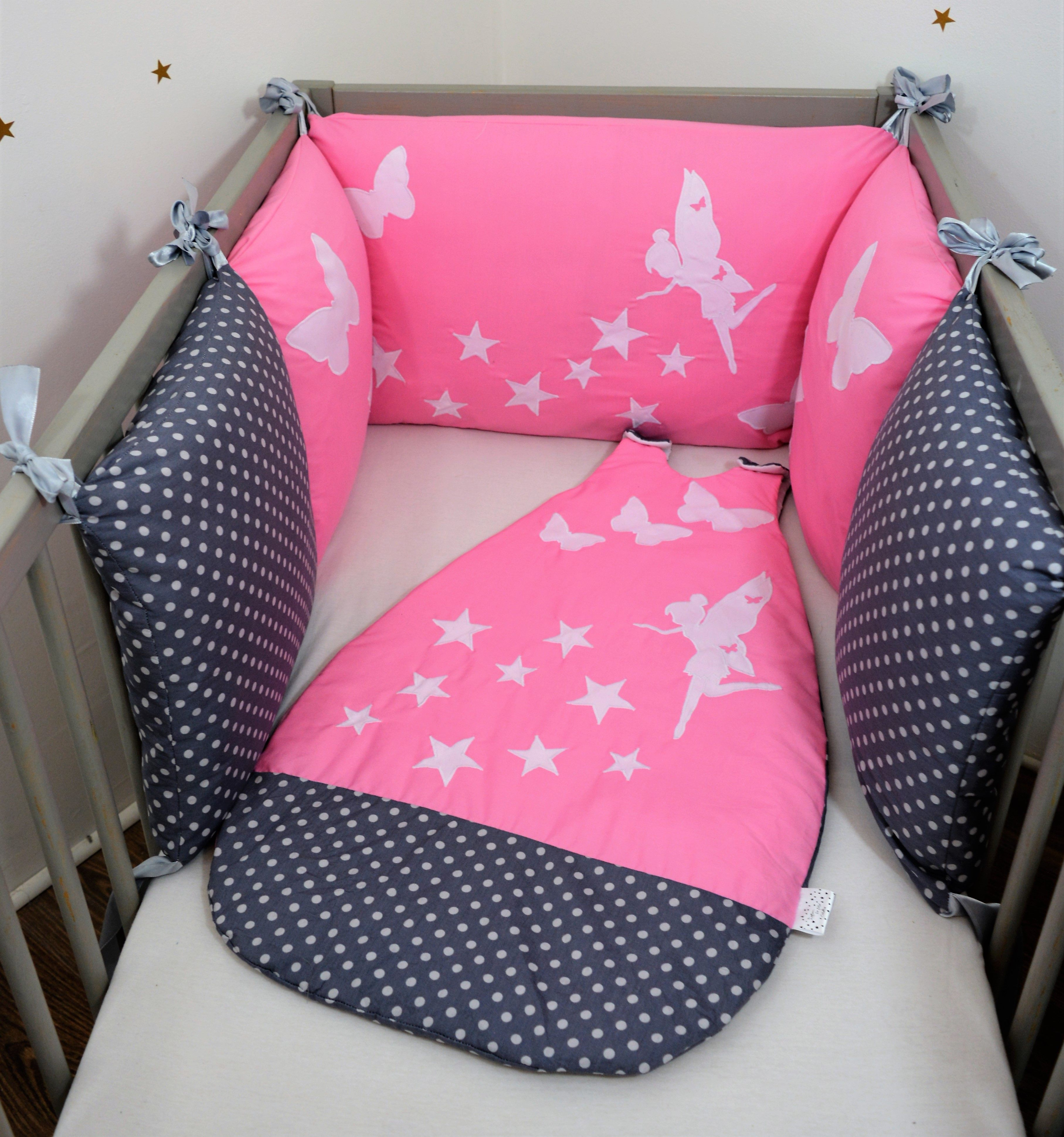 Tour de lit gigoteuse 0 6 mois fée papillon étoilées rose gris a