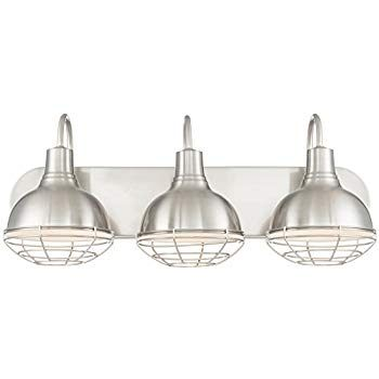 "Revel Liberty 24"" 3 Light Industrial Vanity Bathroom Light Brushed"