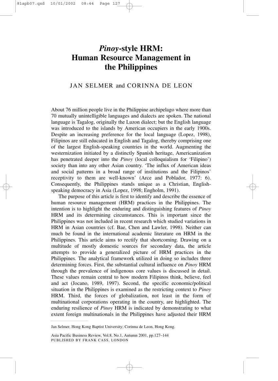 Tour De Lit Uni Joli Pdf Pinoy Style Hrm Human Resource Management In the Philippines