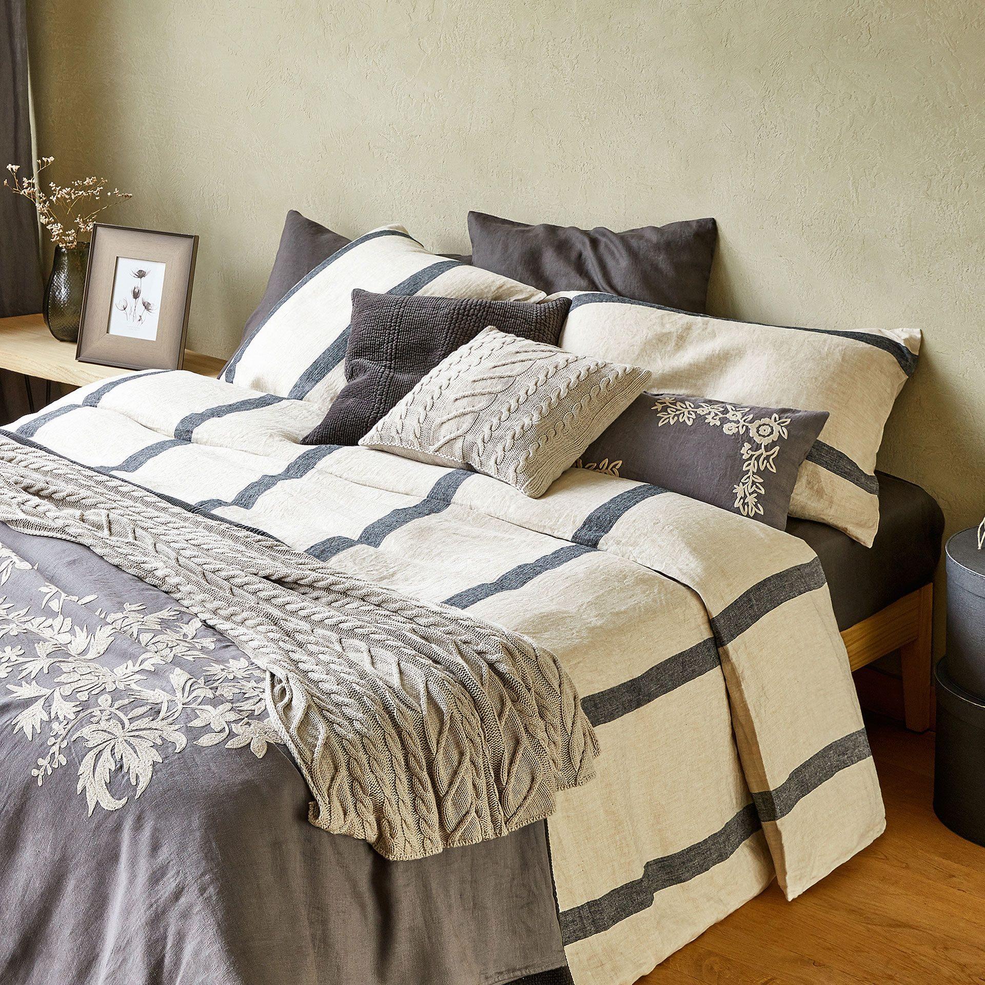 Zara Home Linge De Lit De Luxe Image 2 Du Produit Housse De Couette Lin Effet Chevrons  Rayures
