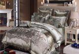 Linge De Lit today Joli Blue Golden Luxury Silk Lace Bedding Set King Queen Bed Sheet Set