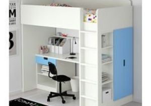 Lit Bureau Ikea Inspiré Stuva Loft Bed with 1 Drawer 2 Doors White Blue Ikea