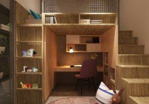 Lit Mezzanine Avec Escalier Unique Lit Pour Enfant Peu En Brant Mezzanine Surélevé Gigogne