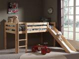 Lit toboggan Enfant Luxe Lit Mezzanine En Pin Massif 90x200cm Avec toboggan Pino Bois Naturel