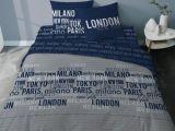 Parure De Lit Geometrique De Luxe Parure De Lit London Adulte Coton World City Marine Gris