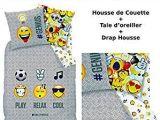 Parure Lit 90×190 Fraîche Emoji Emoticons Parure De Lit 3pcs Housse De Couette 140×200