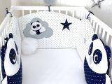 Tour De Lit Bleu Marine Inspirant tour De Lit Bébé En 60cm Large Et 2 Coussins Pandas Bleu Marine